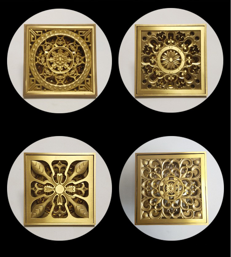 4 Euro Style Antique Brass Bathroom Art Flower Carved Shower Floor Drain/anti-odor shower drain /Sink Grate Golden Floor Drain цена