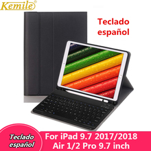 Spanish Keyboard case For iPad 6th 9.7 2018 Case Bluetooth Keyboard W Pencil holder Stand Cover For iPad Air 1/2 Pro 9.7 Case стоимость