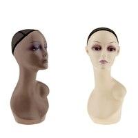2 шт. реалистичные женский Пластик манекен головы плеча с ушками и чистая Кепки довольно макияж для парики очки ювелирные изделия Дисплей