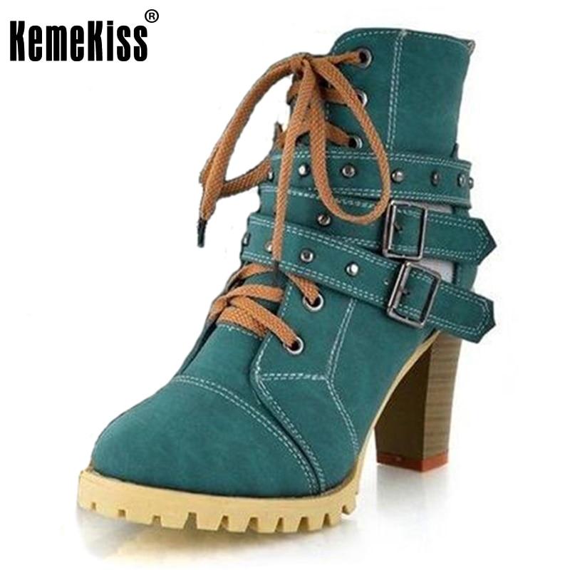 KemeKiss size 34 42 women high heel half short ankle boots winter martin snow botas fashion