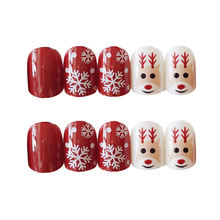 24 шт плоские накладные ногти искусственные для леди Рождество
