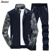 Xnxee New Tracksuit Men Set Spring Fleece Lined Track Suits Sportswear Jackets + Pants Male Sporting Suit Sweatshirt