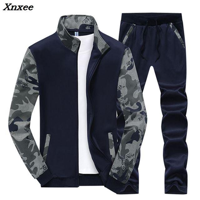 Xnxee New Tracksuit Men Set Spring Fleece Lined Track Suits Men Sportswear Jackets + Pants Male Sporting Suit Sweatshirt Xnxee