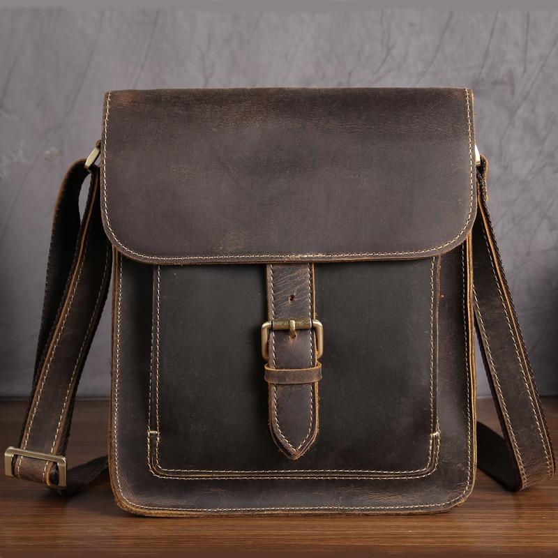 Bagsanta e supeve për burra Lëkurë origjinale Lëkurë e çmendur Mashkull Cross Cross Messenger iPad çanta Vintage modës çanta biznesi Hasp Man