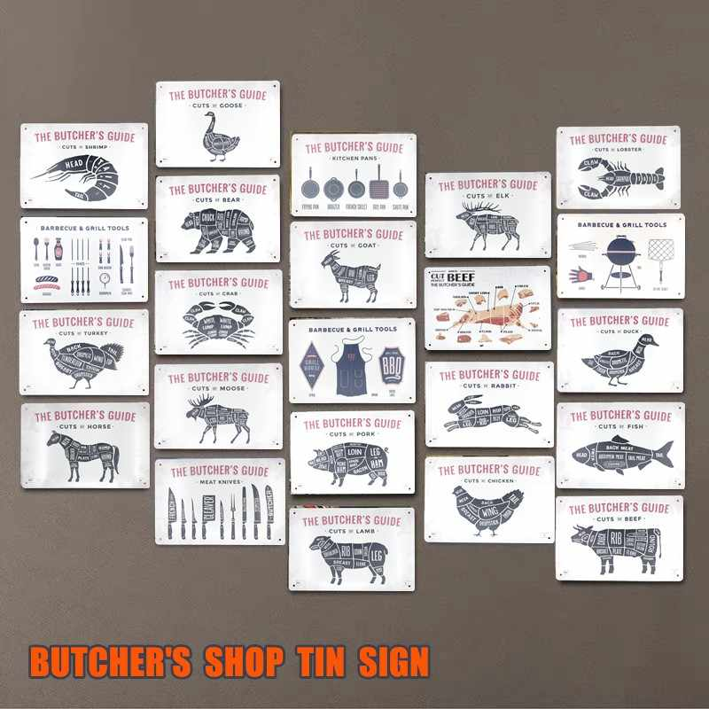 BUTCHER'S GUIDE BEEF PIG DUCK Meat Shop Collection TIN SIGN Decor Retro Wall Plaque Painting Metal Craft