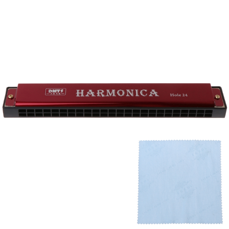 Professional 24 Hole Harmonica C Key Metal Harmonica Woodwind Instrument For Beginners 4 Color Dropshipping