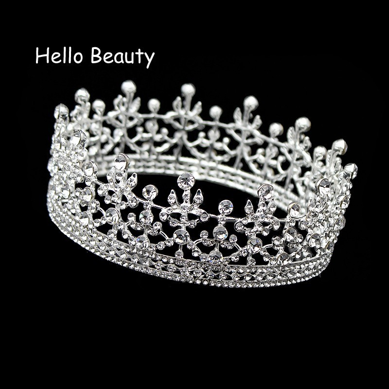 Silver Color Full Circle King Queen Tiara Crystal Round Imperial Medieval Crown Wedding Bridal Hair Jewelry Bride Accessories