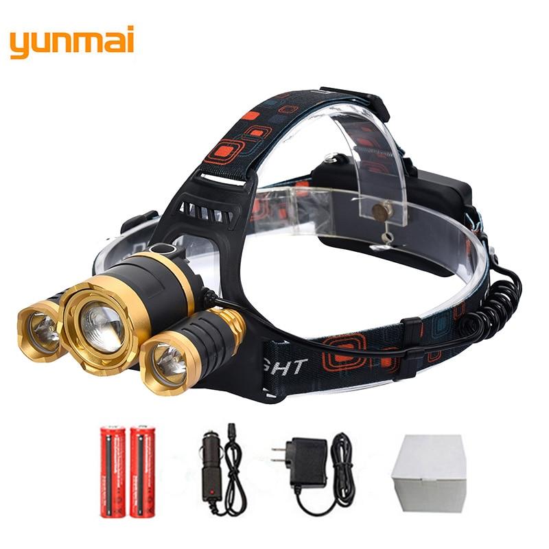 3 couleurs Led 4 Modes phares lumières de secours Zoomable haute puissance sport tête Torches 18650 batterie Rechargeable lampe torche