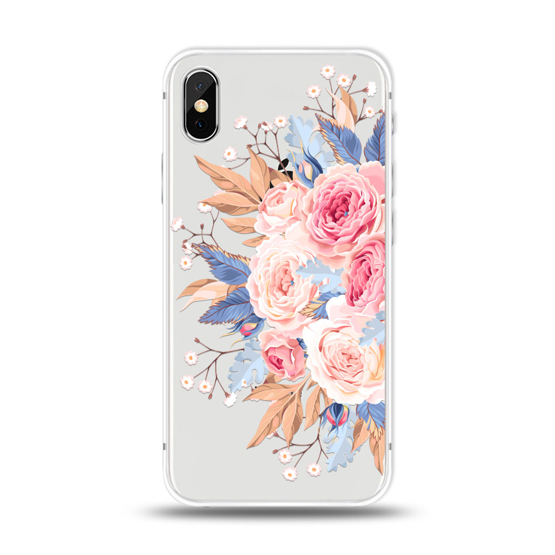 KIPX1027A_1_JONSNOW For iPhone 7 Flowers Pattern Soft Case For iPhone 6 6S 7 8 Plus Clear Back Cover for iPhone 5 5S SE Capa Coque Fundas