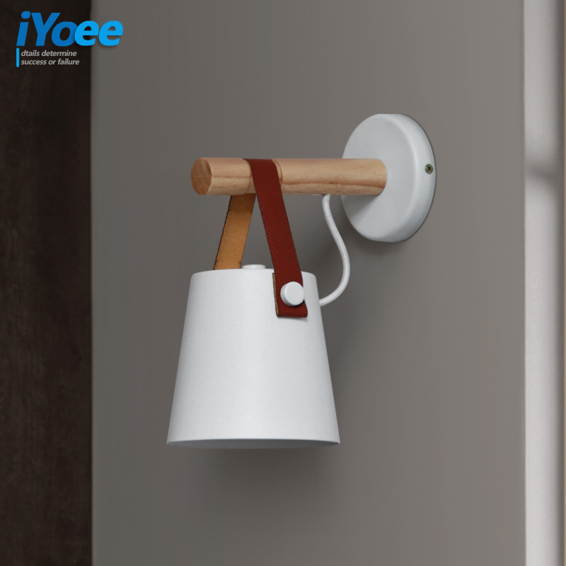 Image 5 - Nordic bedroom LED bedside Wall Lamps Indoor E27/E26 aisle lighting hotel Creative Wooden White/Black vanity Wall Sconces Light-in Wall Lamps from Lights & Lighting