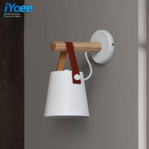 Image 5 - Nordic bedroom LED bedside Wall Lamps Indoor E27/E26 aisle lighting hotel Creative Wooden White/Black vanity Wall Sconces Light