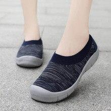 VTOTA Breathable Air Mesh Flat Platform Shoes 2019 Spring Summer Slip On Knitting Flats Loafers Casual Walking Woman