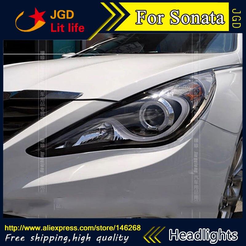 Free shipping ! Car styling LED HID Rio LED headlights Head Lamp case for Hyundai Sonata 2011 2012 Bi-Xenon Lens low beam
