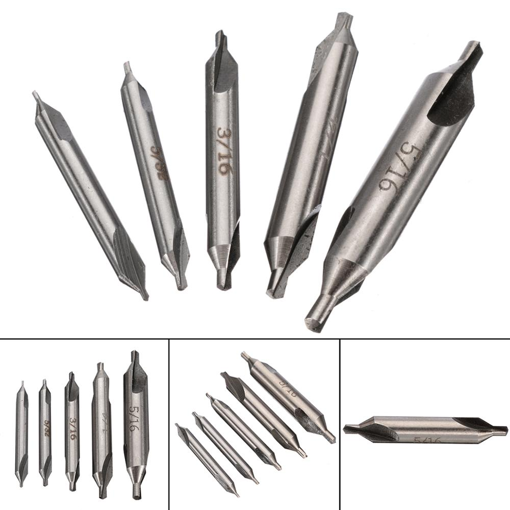 5pcs/set 60 Degree HSS Center Spotting Drill Bits Combined Countersink Bits Set For Power Tool