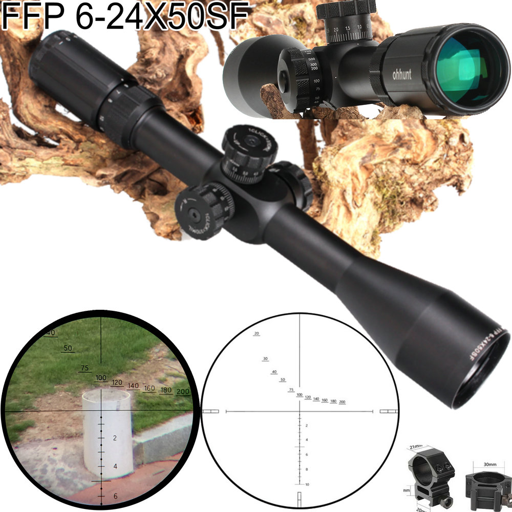 Ohhunt FFP 6-24X50 SF First Focal Plane Scope Side Parallax Glass Etched Reticle Lock Reset Hunting Tactical Optical Riflescopes