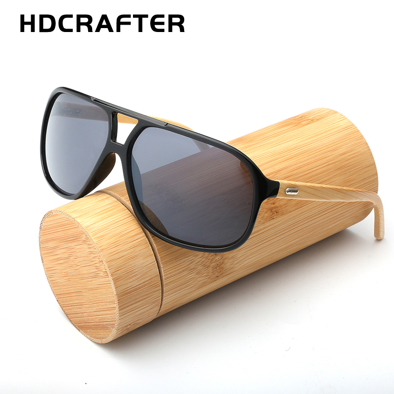 HDCRAFTER bamboo mirrored sunglasses men pilot sun glasses for male square wood vintage