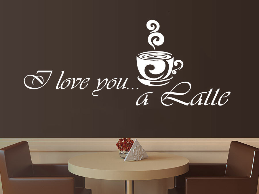 Coffee vinyl wall decal coffee latte kitchen cafe interior for Mural coffee shop