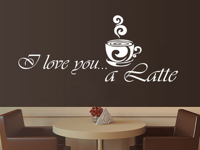 Coffee Vinyl Wall Decal Coffee Latte Kitchen Cafe Interior Decor Mural Art  Wall Sticke Coffee Shop