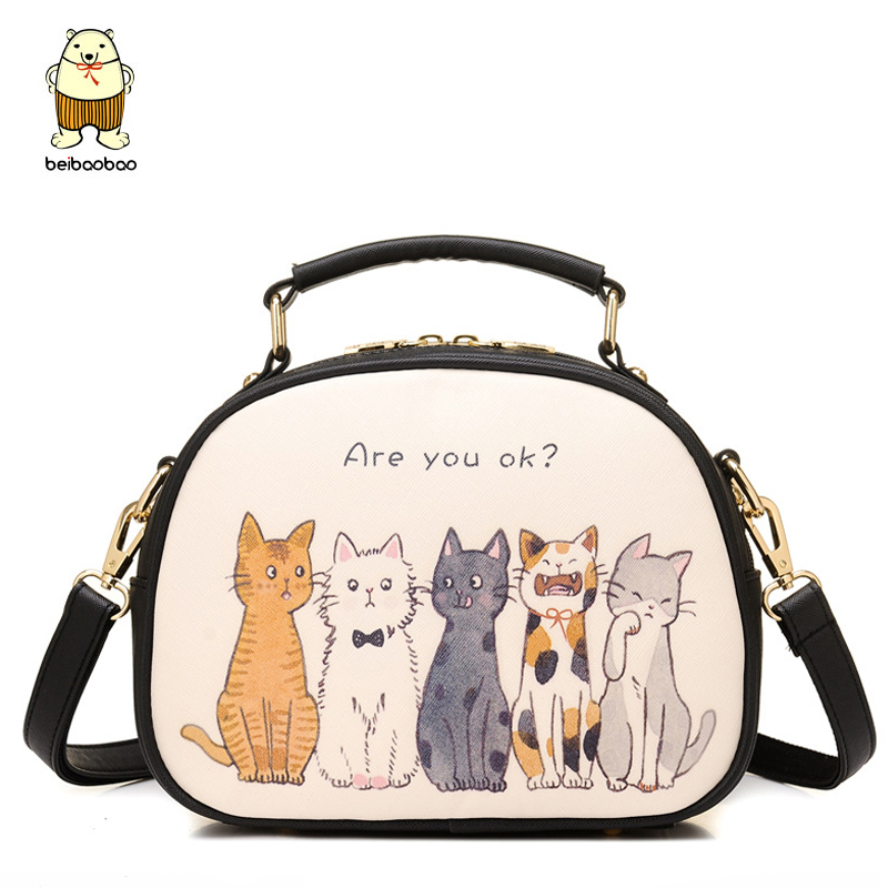 Beibaobao Printing women handbag designer women messenger bags cross body women's bolsa shoulder bag ladies cut cat a1152/b