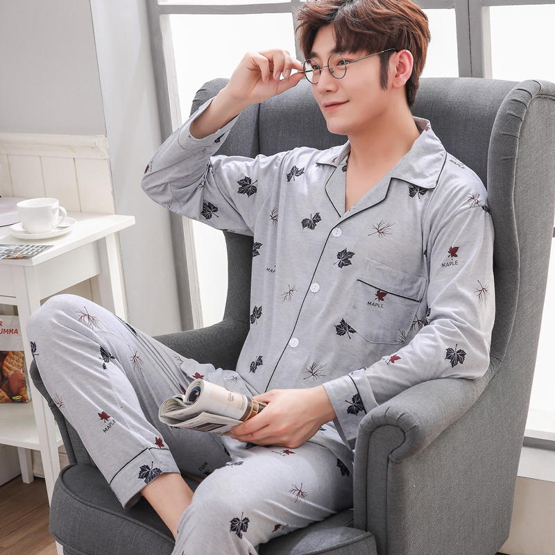 Yuzhenli Pajamas Men Spring Autumn Mens Cardigan Pyjamas Leaf Print Pajamas Long-sleeve Sleepwear Casual Men Winter Pajama Set