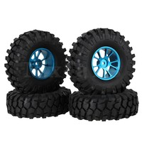 Mxfans 4 x RC 1:10 Rock Crawler Simulation Rubber Tire & Alloy 10 Spoke Wheel Rim