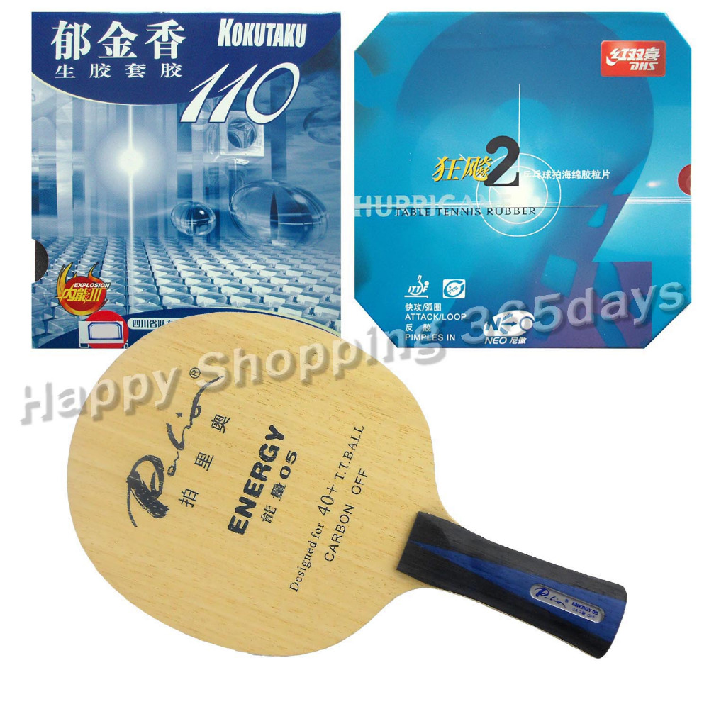 Pro Table Tennis PingPong Combo Racket Palio ENERGY 05 with Kokutaku 110 and DHS NEO Hurricane 2 Long Shakehand FL pro table tennis pingpong combo racket palio chop no 1 with kokutaku 119 and bomb mopha professional shakehand fl