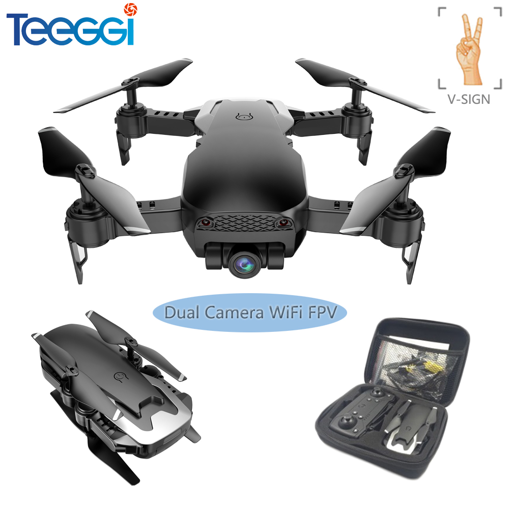 Teeggi M69G FPV Selfie Dron Foldable RC Drone With 1080P HD Camera WiFi Optical Flow Positioning Quadcopter VS VISUO XS809HW X12