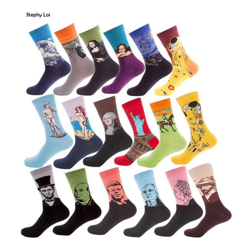 6 Pairs/Lot Retro Men Combed Cotton Art Crew Socks Starry Night Van Gogh World Famous Painting Funny Novelty Pack Sox Harajuku