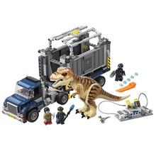 631Pcs Dinosaur Figure T. rex Transport Set Model Building Kits Blocks Bricks Toys For Children Gift Compatible Legoings 75933 legoing jurassic world series t rex transport model building block brick toy for children birthday gift compatible 75933