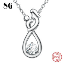 SG 925 sterling silver mom child chain pendant necklace with CZ European diy fashion jewelry making for mother genuine sterling silver 925 love heart mom hug kid necklace in jewelry pendant necklace with cz chain fashion jewelry for mother