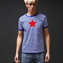 Verano ruso Ejército Azul Marino rayas camisetas hombres algodón pentagrama  impresión bretón Top Casual Hombre o-cuello de manga. be638de6e8715