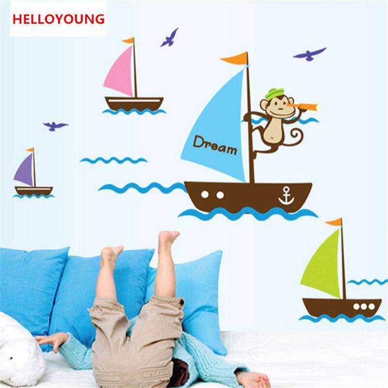 Qt 0185 Bleu Ocean Mouette Dessin Anime Singe Reve Voile Bateau Bateau Autocollant Stickers Muraux Pour Chambre D Enfants Bebe Stickers Muraux 3d Aliexpress