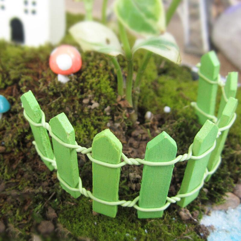 10 Color 2PCS Lattice Wooden Fence Mini Signs Fairy Dollhouse Garden Plant Figurine Decor Ornament Landscape Miniatures