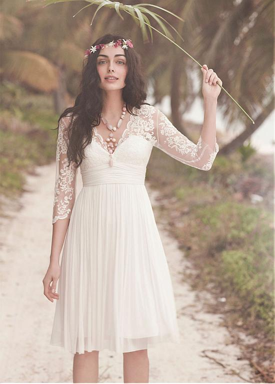 Weddings & Events Hard-Working 2017 Vintage 1950s Short Lace Sleeves Knee Length Women Informal Reception Wedding Dress Sheer Illusion Bridal Gown