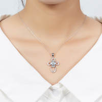 Hutang Natural Aquamarine & Diamond Pendant Necklace Solid 925 Sterling Silver Gemstone Fine Jewelry for Women Birthday Gift