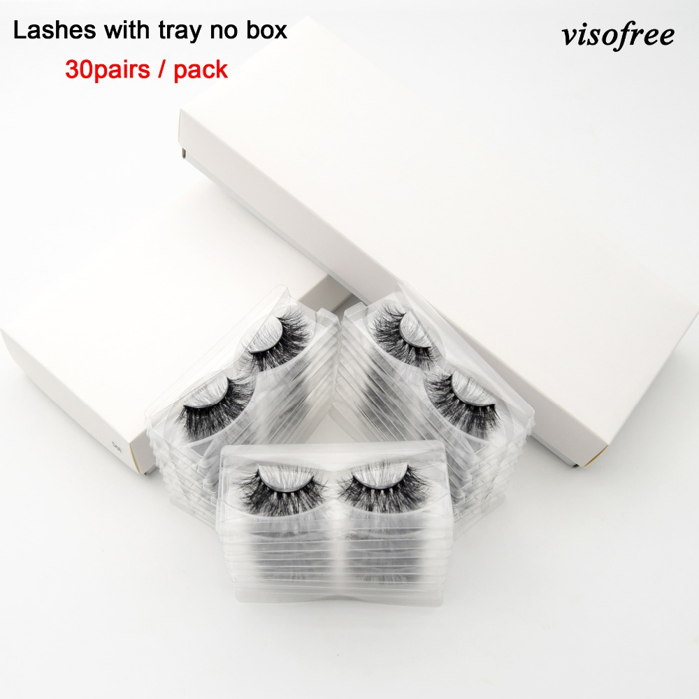 Visofree 30 40 Pairs lot 3D Mink Lashes With Tray No Box Handmade Full Strip Lashes