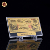 WR 1864 Year Gold Foil 10 Dollar Gold Banknote Plated Currency Colorful Bill Bank Note with Display Stand