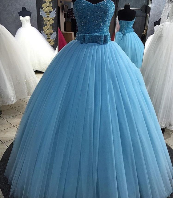 2017 Sparkly Light Blue Quinceanera Dresses with Beadings Crystals Princess Sweet 16 Ball Gowns with Bow vestidos de 15 anos