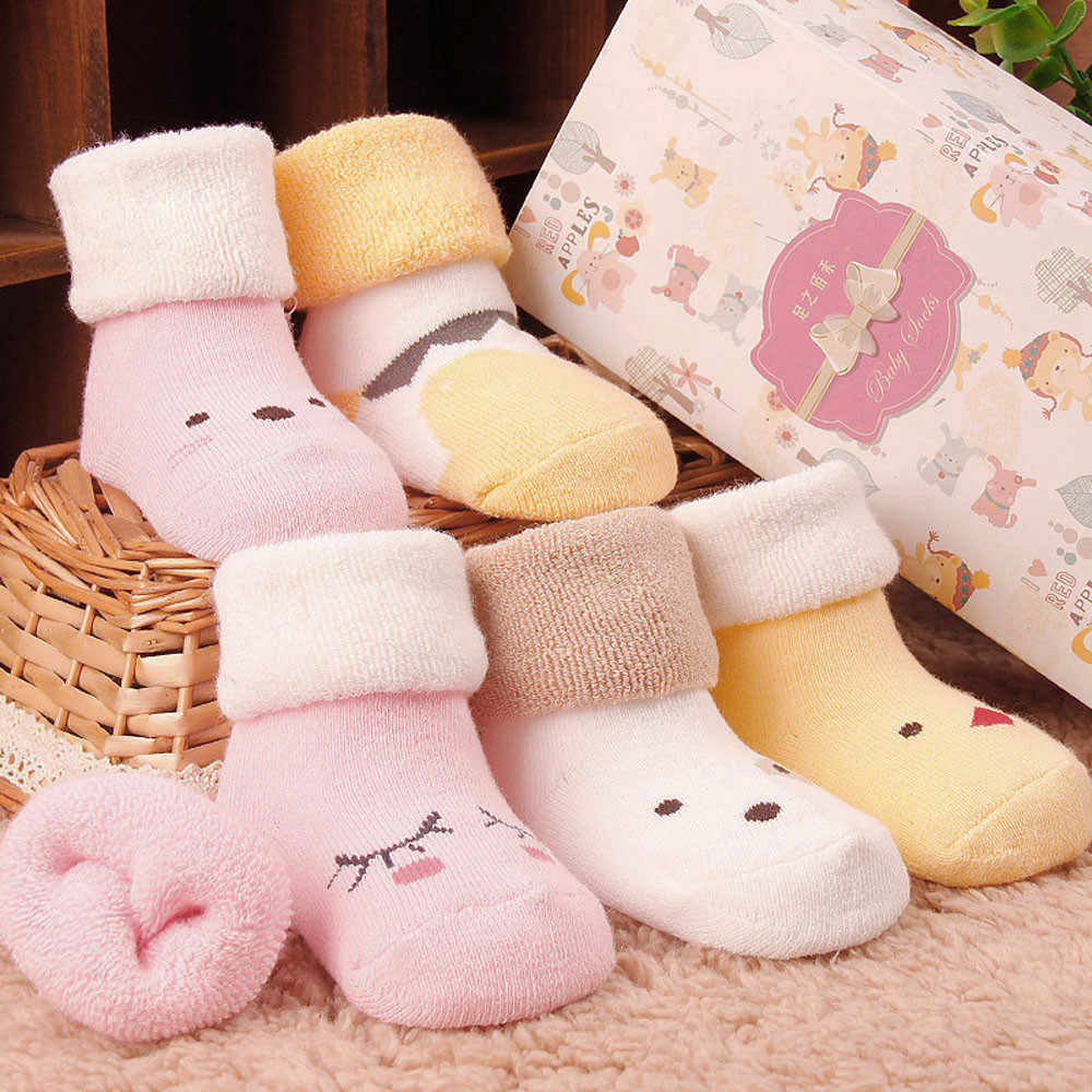 Baby Socks Shoes Kids Infant Newborn Toddler Baby Boys Girls Cute Cartoon Animals Anti-slip Knitted Warm Socks For Baby Shoes