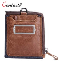 CONTACT S Short Men Wallet Genuine Leather Credit Card Holder Purse Crazy Horse Brand Male Clutch