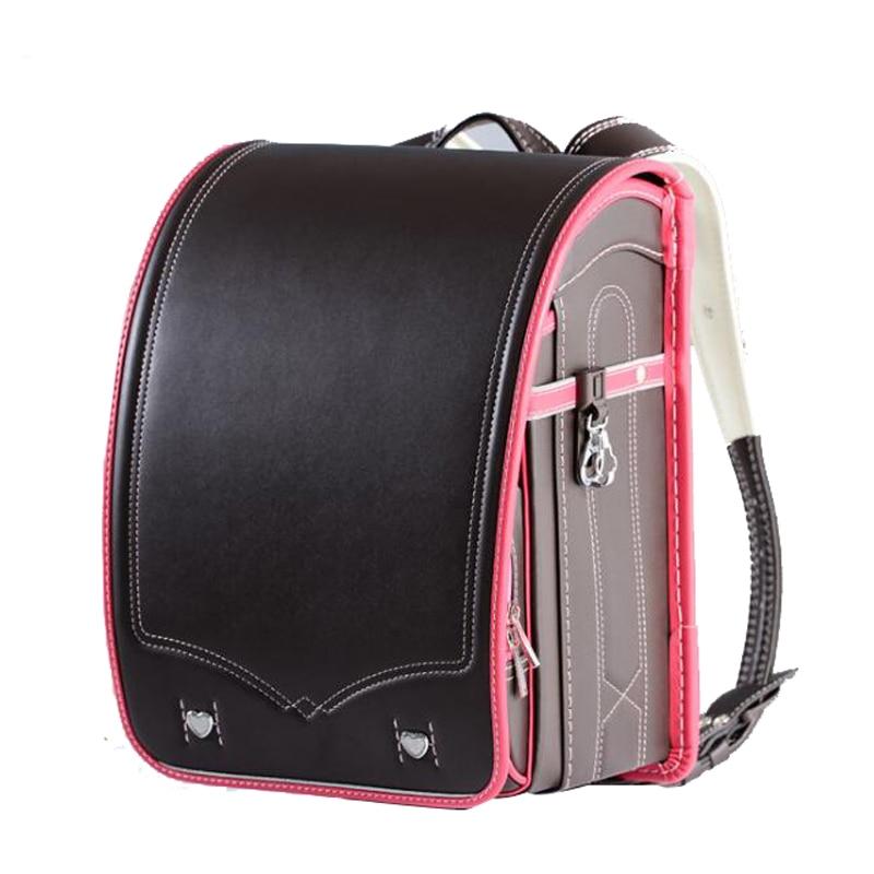 2019 nouveaux sacs décole orthopédiques pour garçons et filles solide en cuir PU enfants sacs à dos boucle en métal sac décole japonais pour les enfants