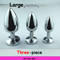 Three-piece Metal anal plug with jewel, 10 Colors Stainless Steel Butt Plug Metal Booty Beads anal sex toys for woman