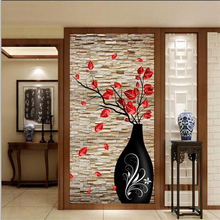 beibehang Custom Wallpaper 3D Stereo Vase Brick Wall Flower Vestel Background Decorative Painting papel de parede 3d wall paper home decoration 3d landscape wallpaper stone wall flower lilac flower decorative painting decorative brick wall