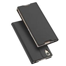 Dux DUCIS кожи серии Pro Чехол для Sony Xperia XA1 Бизнес ПУ кожа мобильный кейс для Sony Xperia XA1 В виде ракушки Стенд-темно-серый