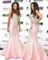 Brillante Glamour Crystal Lentejuelas Off Shoudler Mangas Sirena Satinado Vestido Celebrity Red Carpet Vestido A Medida Vestido Elegante Delgado
