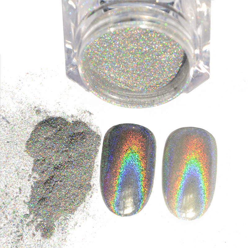 1g Box Shiny Laser Powder Holographic Nail Glitter Rainbow Pigment Manicure Chrome Pigments