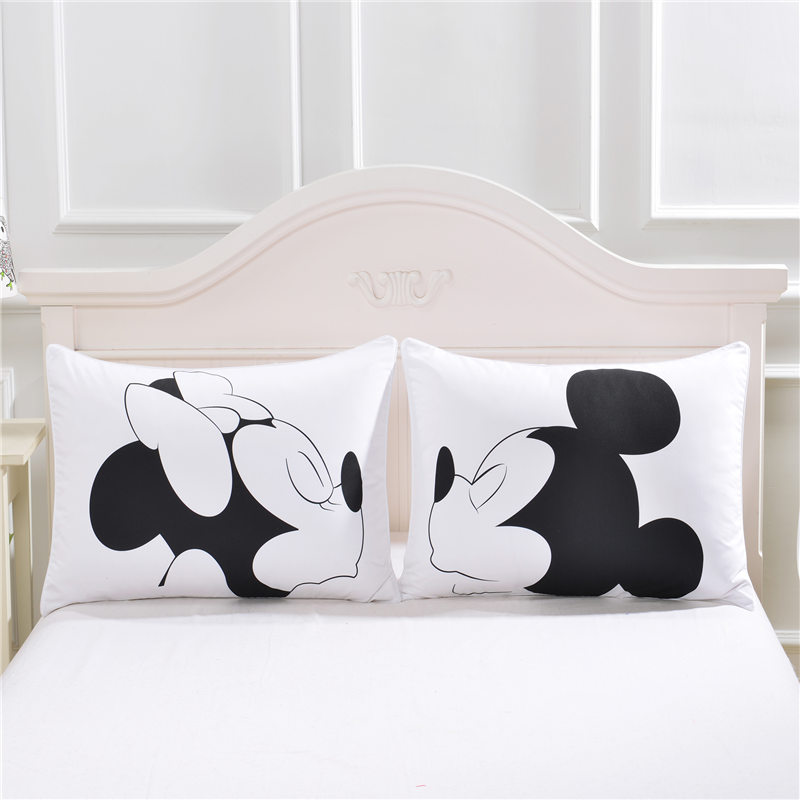 How To Make Cute Pillow Cases : Mickey mouse Love Decorative Pillow Case Cute Design Cotton Standard Pillowcase Home Gift ...