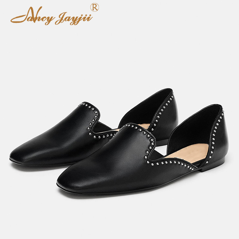 90536d02f140f9 Dame Rivet Élégant Femmes Nancyjayjii Carré Adulte Femelle Mode Loisirs  Solide Chaussures Appartements D'orsay 2019 ...