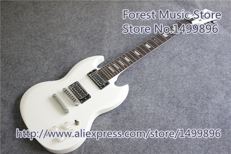 Hot Selling Glossy White Finish 7 Strings SG Electric Guitars With Chrome Hardware For Sale hot selling ventage sunburst finish left handed slash lp standard electric guitars as pictures