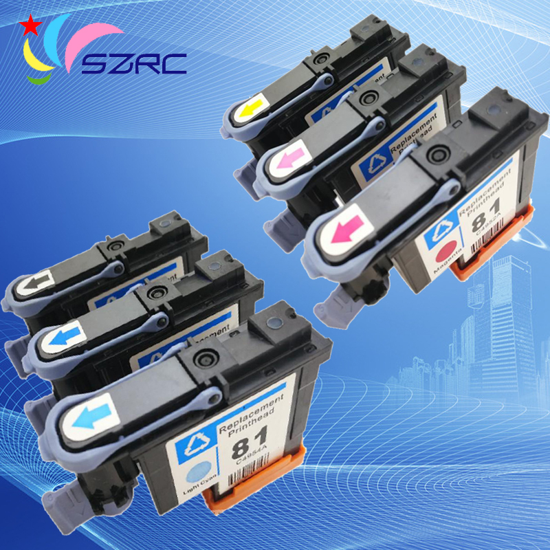 High quality 81 C4950A C4951A C4952A C4953A C4954A C4955A Printhead Original Refurbished Print Head For HP81 5000 5500 Printer 1 set compatible print head 6 color for hp 81 for designjet 5000 5500 5500ps for hp81 printhead c4950a c4955a cartridge head